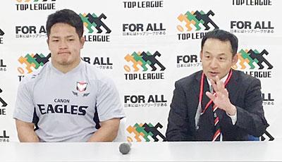 永友監督(右)、庭井キャプテン