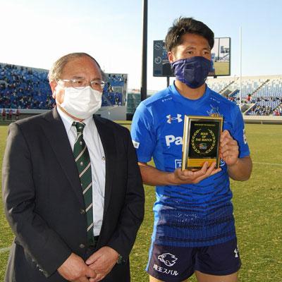 山沢拓也選手はこの試合、マン・オブ・ザ・マッチを受賞した