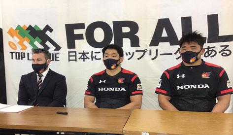 Honda HEAT、左からリー ヘッドコーチ、小林キャプテン、具選手