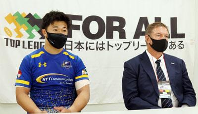 NTTコミュニケーションズシャイニングアークスのリースエドワード ヘッドコーチ(右)、中島 共同キャプテン