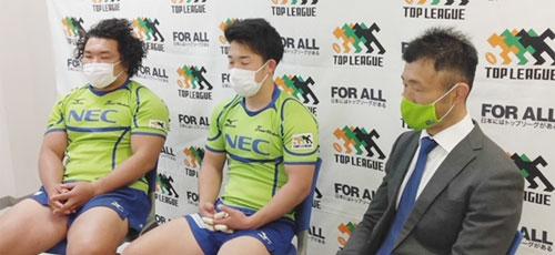 NECグリーンロケッツの右から、浅野ヘッドコーチ、中嶋共同キャプテン、瀧澤選手